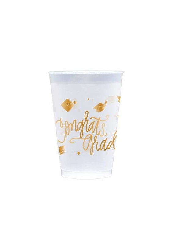 Natalie Chang ****Congrats, Grad! (gold ink) | Frosted Cups  20 oz. Cups (8 per pkg.)