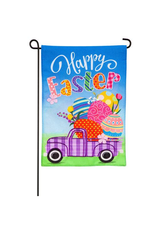 ****Easter Plaid Truck Garden Burlap Flag