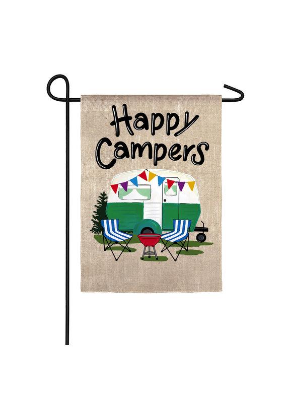****Happy Campers Travel Trailer Garden Suede Flag