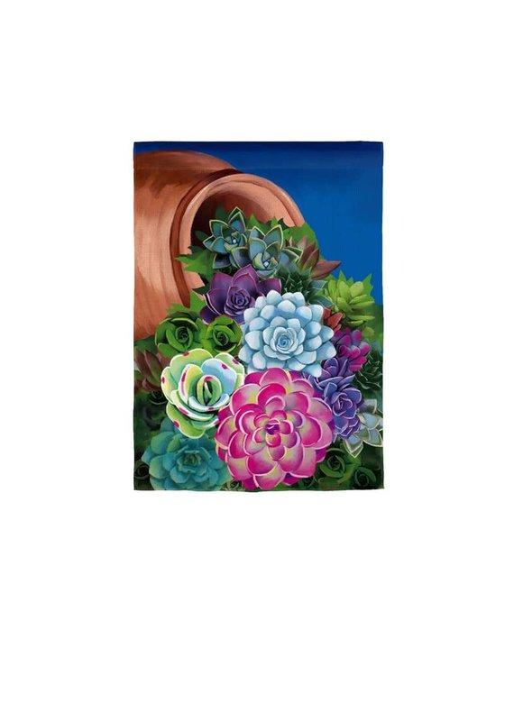 ****Cascading Succulents Garden Burlap Flag