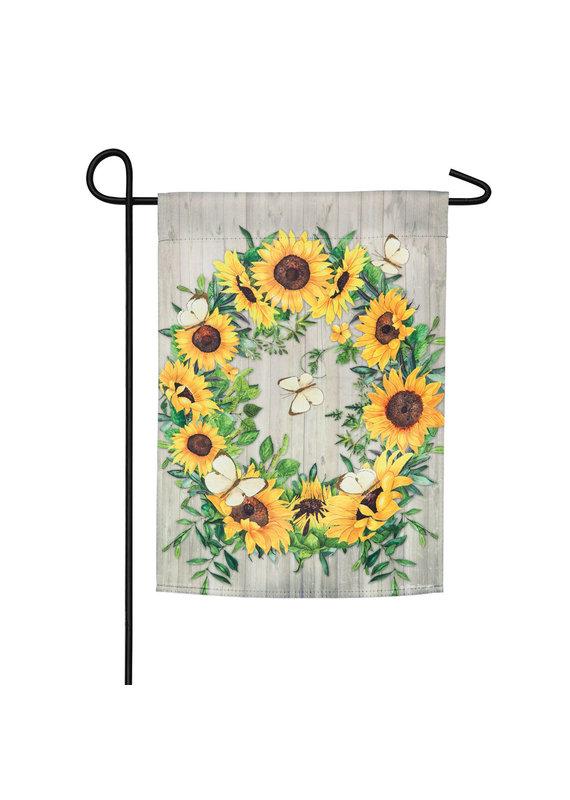 ****Sunflower Wreath Garden Suede Flag