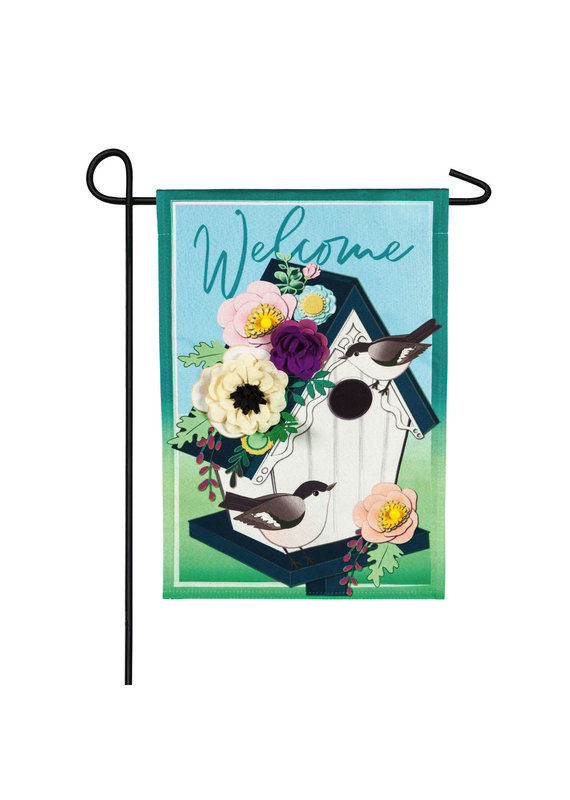 *****Garden Birdhouse Garden Linen Flag