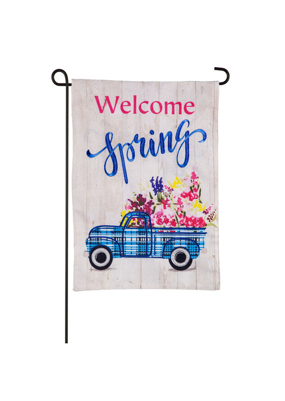 ****Welcome Spring Plaid Truck Garden Burlap Flag