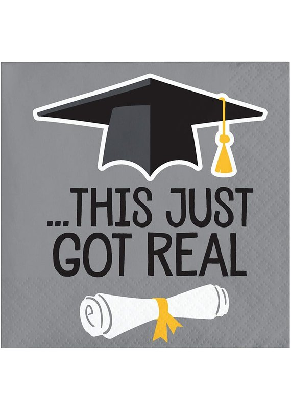 ****This Just Got Real Graduation Beverage Napkins 16ct