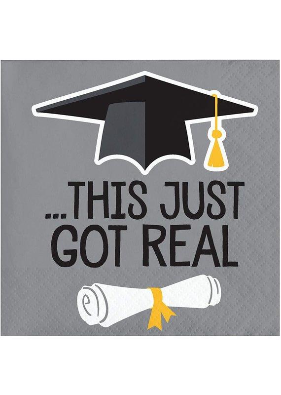 ****This Just Got Real Graduation Beverage Napkins 16ct