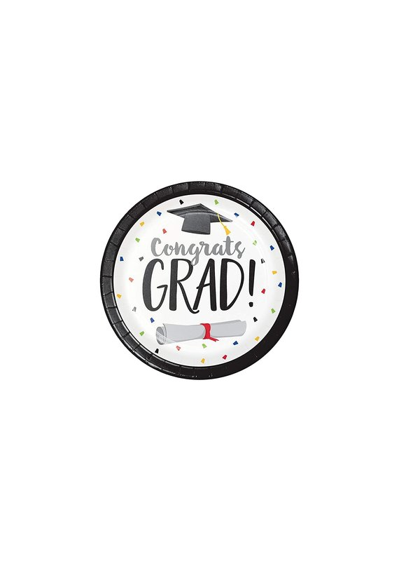 "****Graduation Fun 7"" Dessert Plates 8ct"