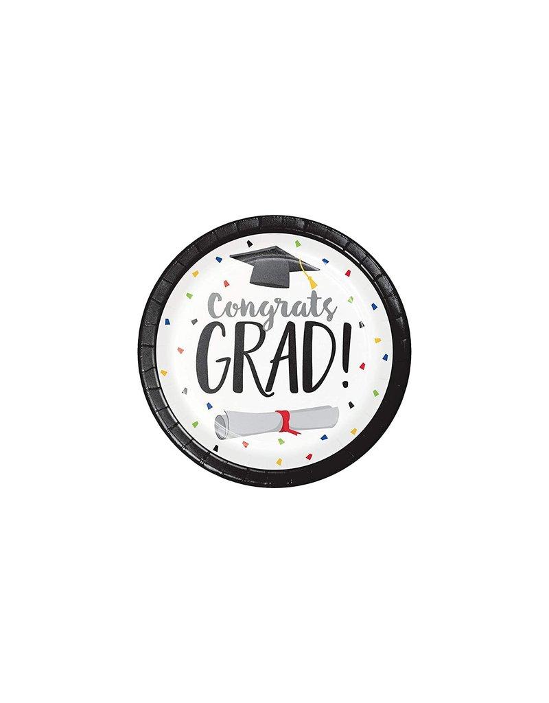 Pack of 60 Paper 7 Diameter Cool Graduation #CONGRATS GRAD Emoji Round Plates Party Tableware