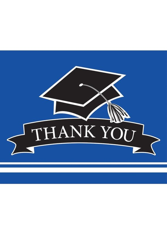 ****Cobalt Blue Grad Thank You Notes 25ct
