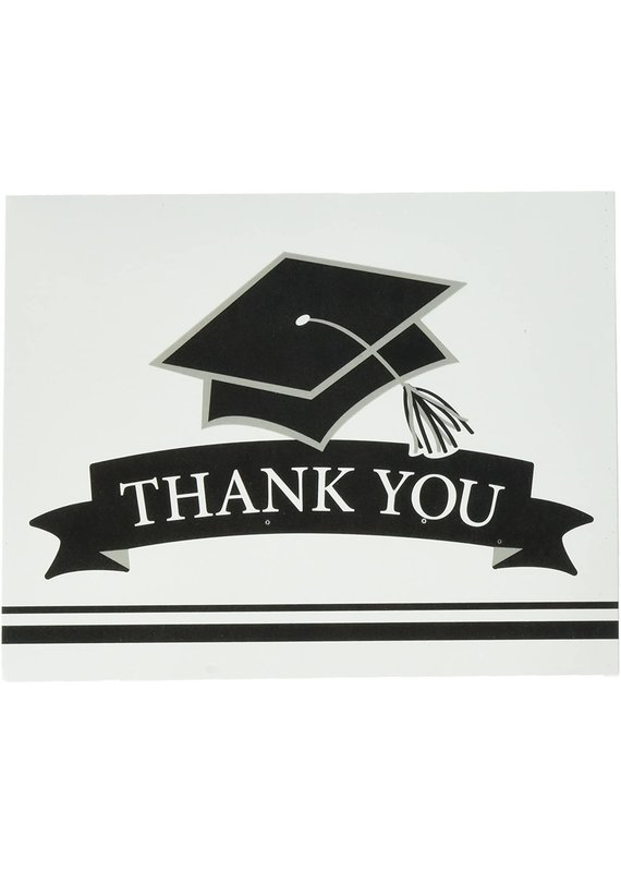 ****White Grad Thank You Notes 25ct