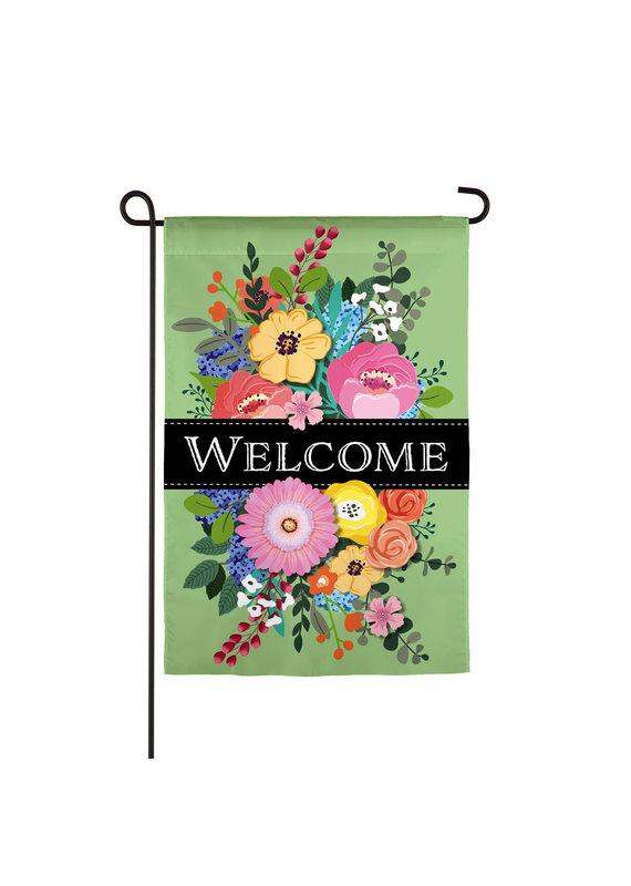 ****Spring Floral Swag Welcome Garden Linen Flag