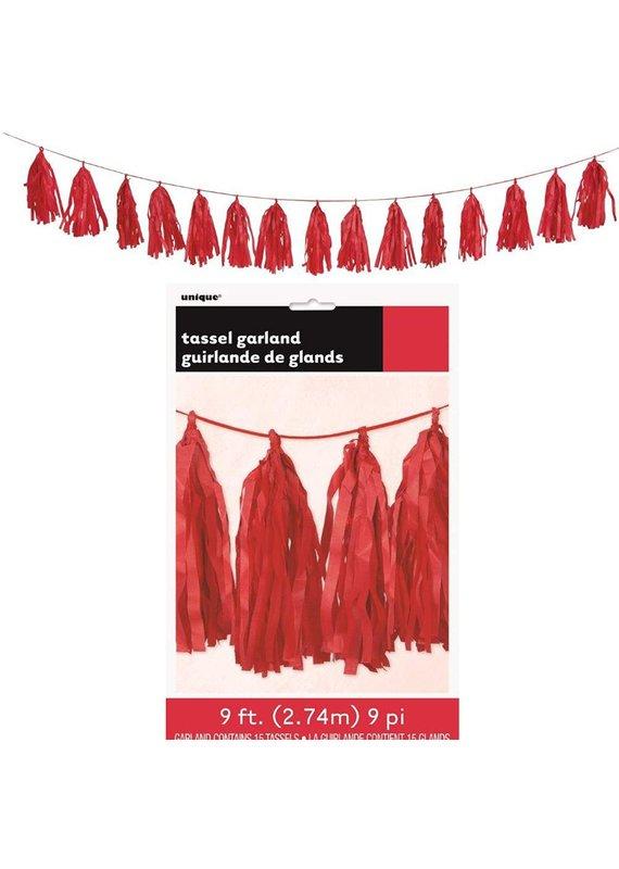 ****Red Tissue Tassel Garland 9ft
