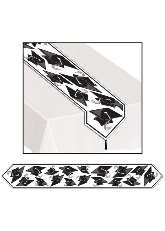 ****Printed Grad Cap Table Runner Black/White 6ft