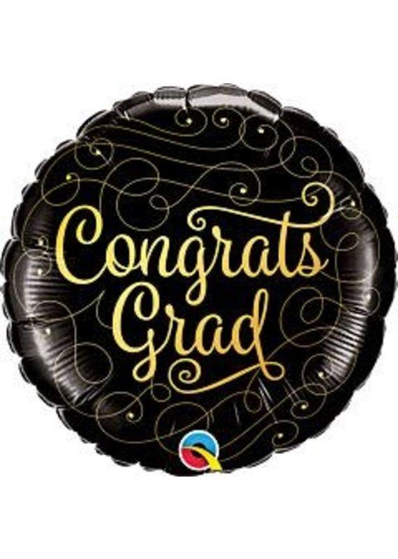 "****Graduation Black and Gold Congrats Grad 18"" Mylar Balloon"