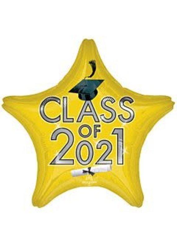 "****Graduation Class of 2021 Gold 18"" Mylar Balloon"