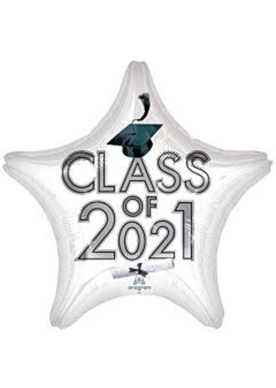 "****Graduation Class of 2021 White 18"" Mylar Balloon"