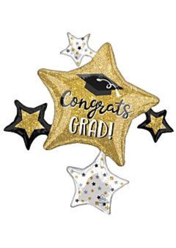 """****Graduation 35"""" Jumbo Star Cluster Mylar Balloon"""