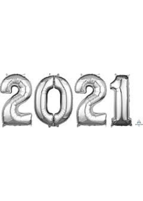 "****2021 Silver Graduation 26"" Mylar Balloons"