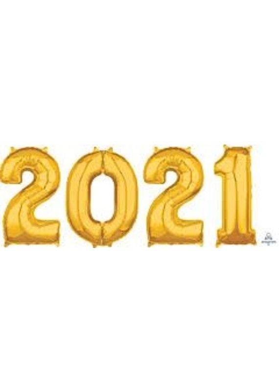"****2021 Gold Graduation 26"" Mylar Balloons"