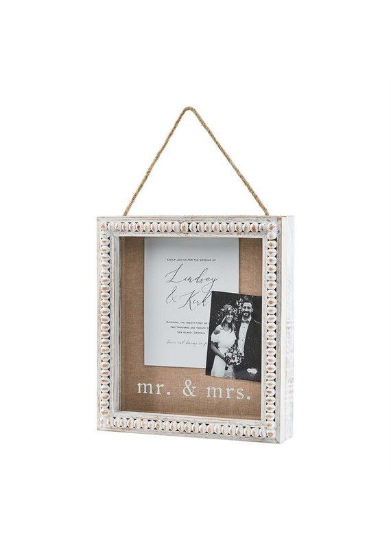 ****Wood Beaded Mr. & Mrs. Shadow Box