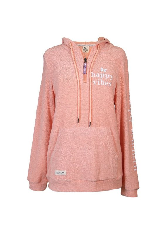 ****Simply Southern Terry Hoodie Happy Vibes
