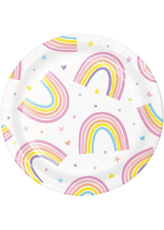 """****Happy Rainbow 7"""" Plates 8ct"""