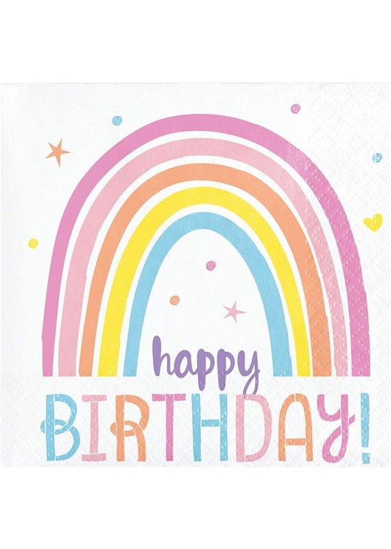 ****Happy Rainbow Birthday Beverage Napkins 16ct