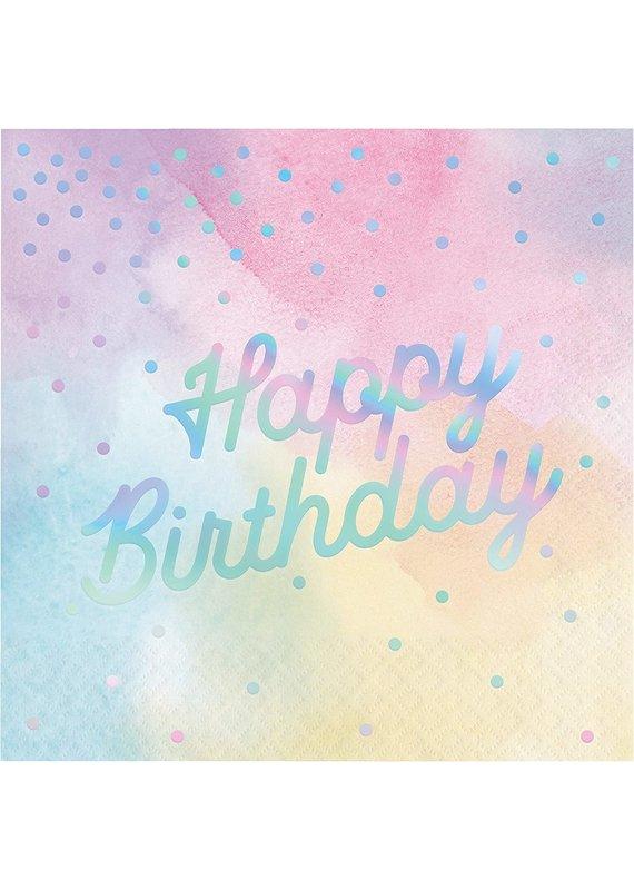 *****Iridescent Happy Birthday Lunch Napkins