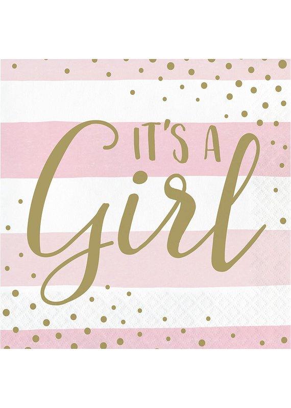 ****Pink Gold Celebration It's a Girl Lunch Napkins