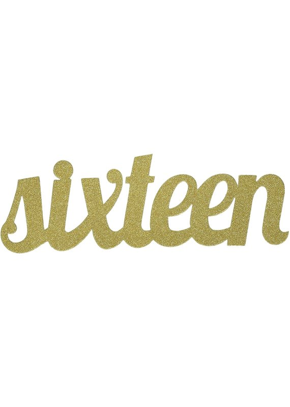 ****Sixteen Gold Glitter Cake Topper