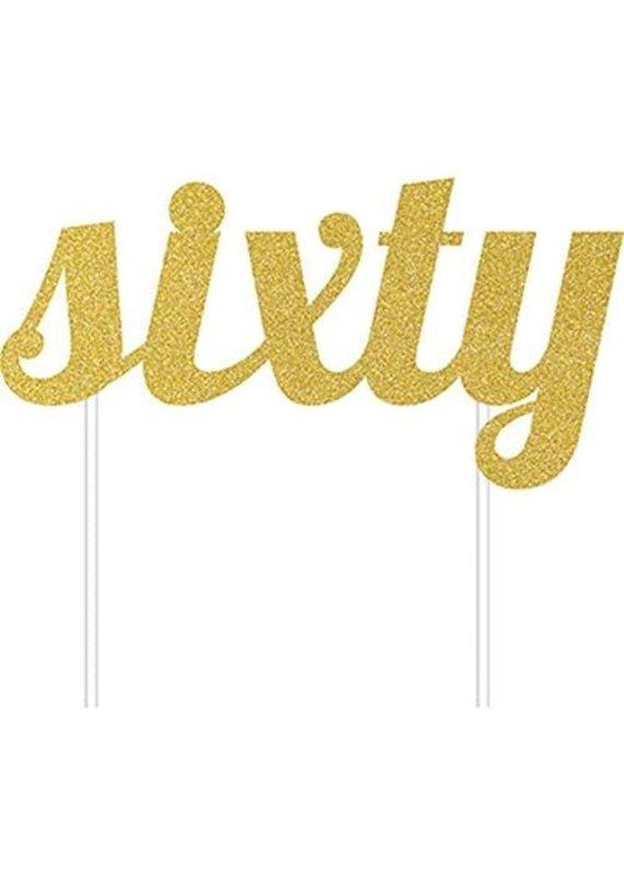***Sixty Gold Glitter Cake Topper