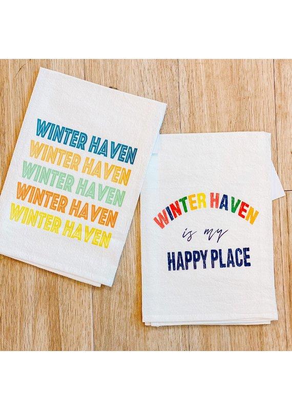 Aspen Lane *****Winter Haven is my Happy Place Tea Towel