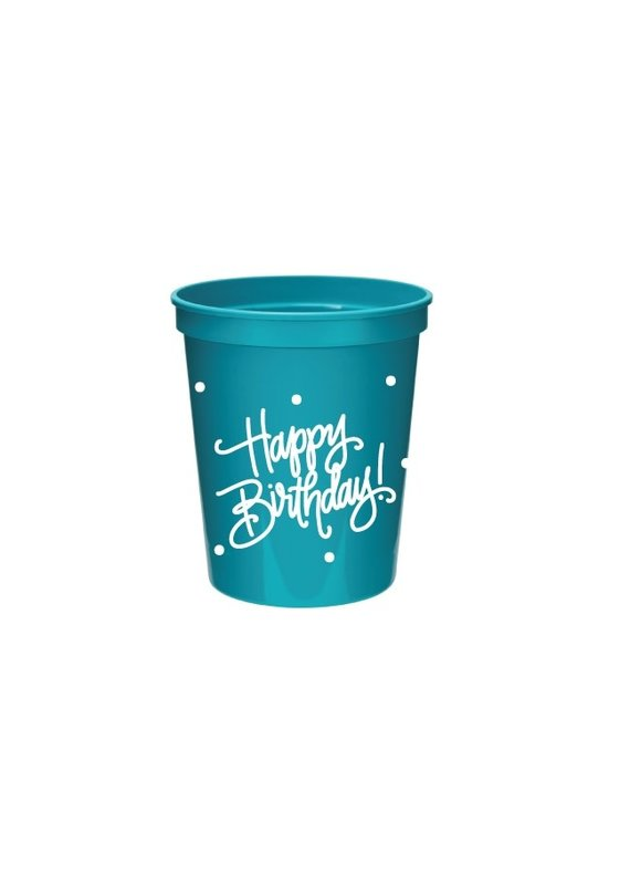 Natalie Chang ****Happy Birthday! Pink/Turquoise Lids & Straws (8 cups/lids/straws)