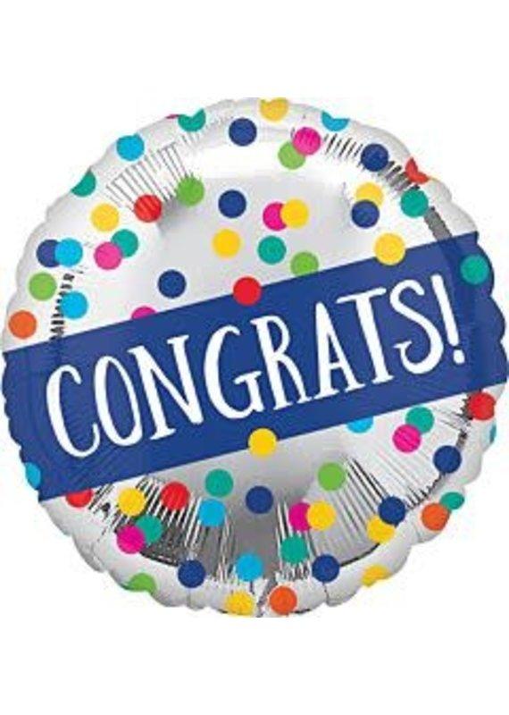 "****Congrats Sliver Dots 18"" Mylar Balloon"