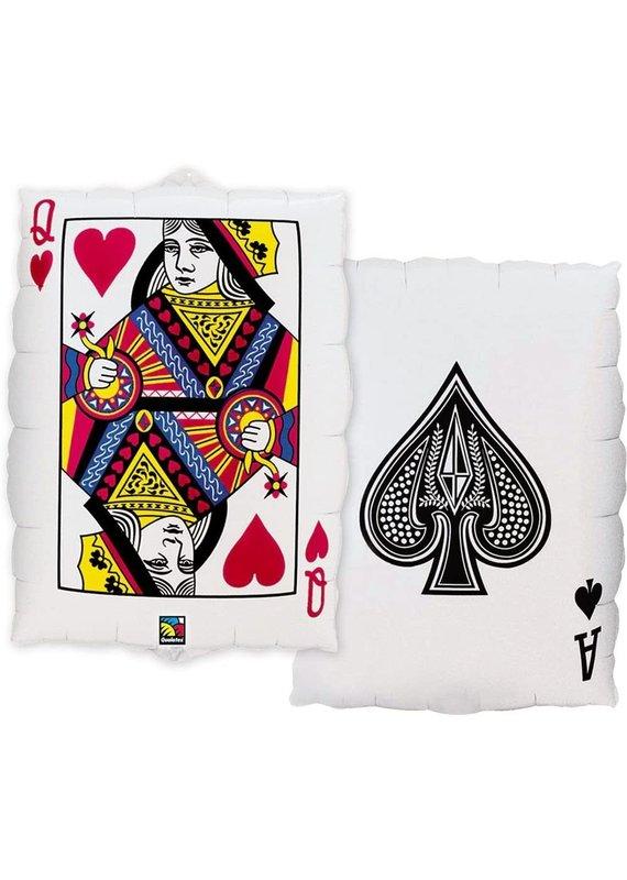 "****Casino 2-Sided Card Jumbo 30"" Mylar Balloon"