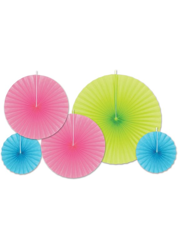 ****Teal, Pink, Lime Green Decorative Paper Fans
