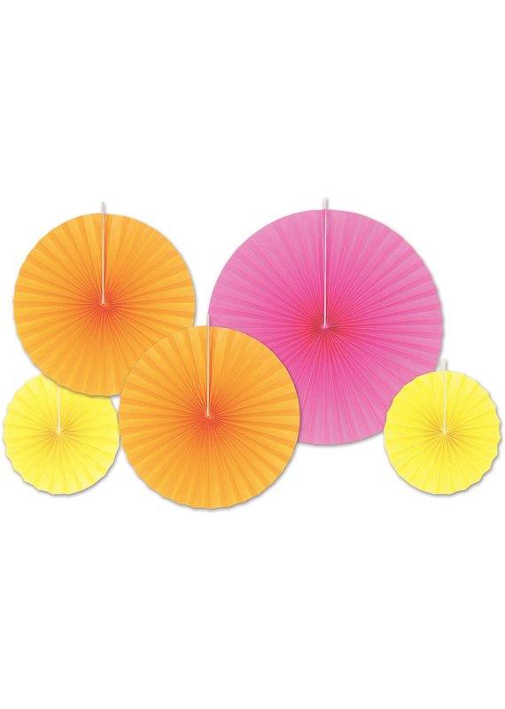 ****Yellow, Orange, Hot Pink Decorative Paper Fan