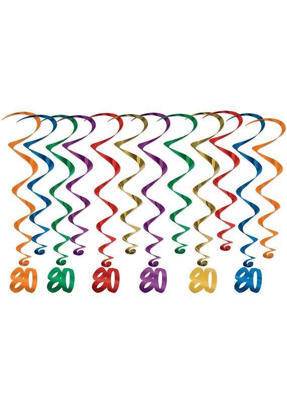 ****80th Birthday Hanging Whirls 12ct