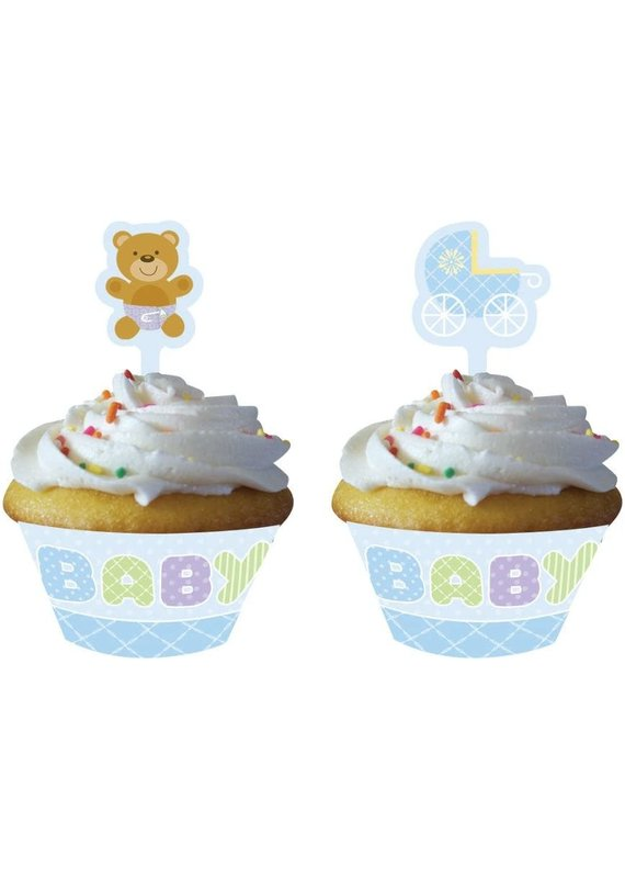 *****Baby blue Cupcake Wrapper and Topper