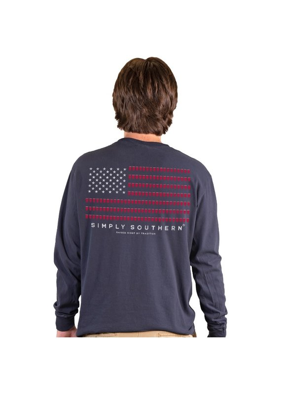 ****Simply Southern Men's Long Sleeve Red Solo Cup Navy