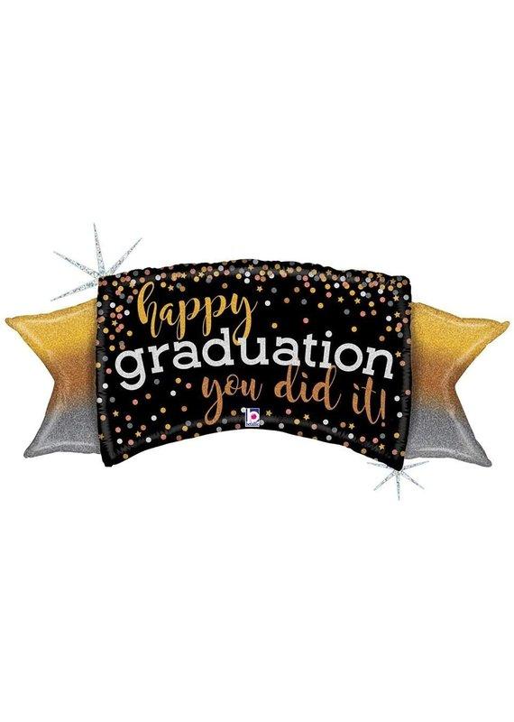 "*****Ombre Graduation 46"" Holographic Mylar Balloon"