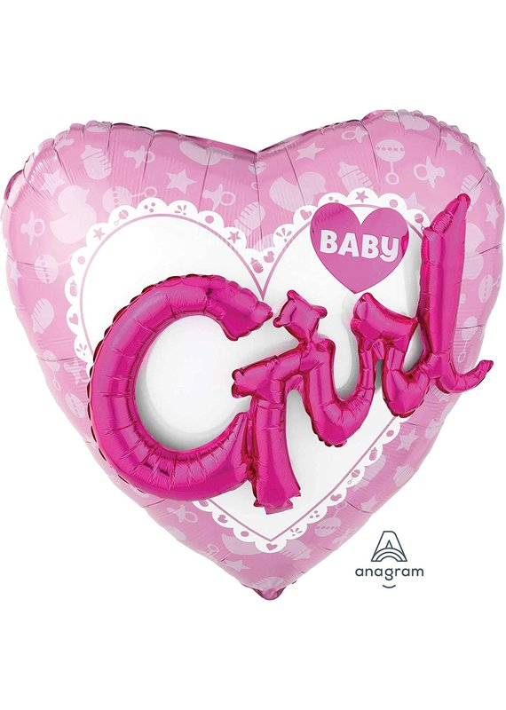 """*****Baby Girl 36"""" Heart Balloon with 3D Effect"""