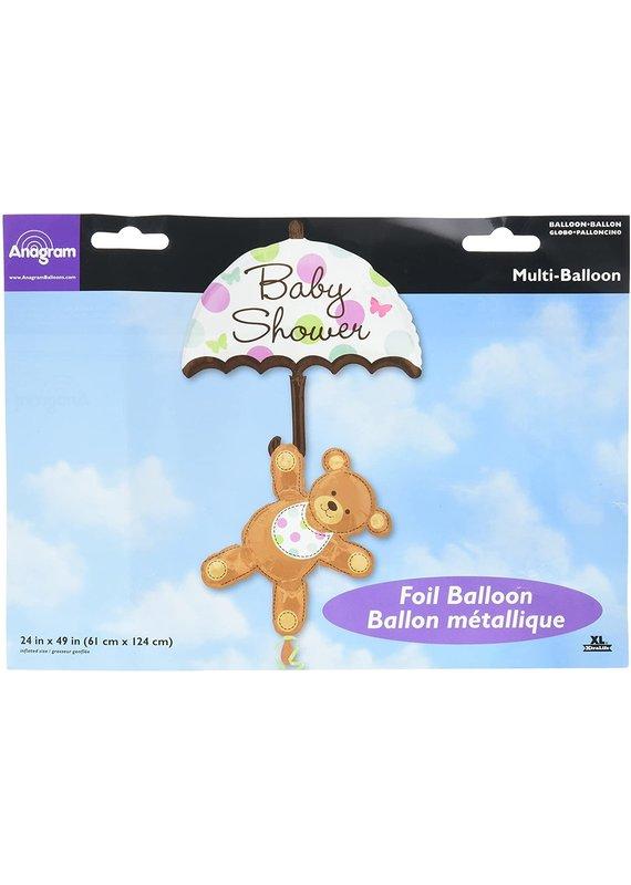 """*****Baby Shower Umbrella Bear 49"""" Mylar Balloon"""