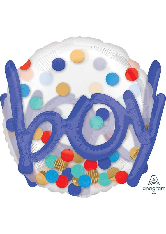 """*****Boy Confetti Dots 36"""" Balloon with 3D Effect"""