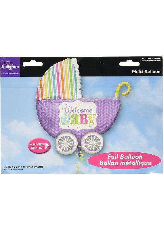 """*****Baby Bright Carriage 32"""" Mylar Balloon with 3D Effects"""