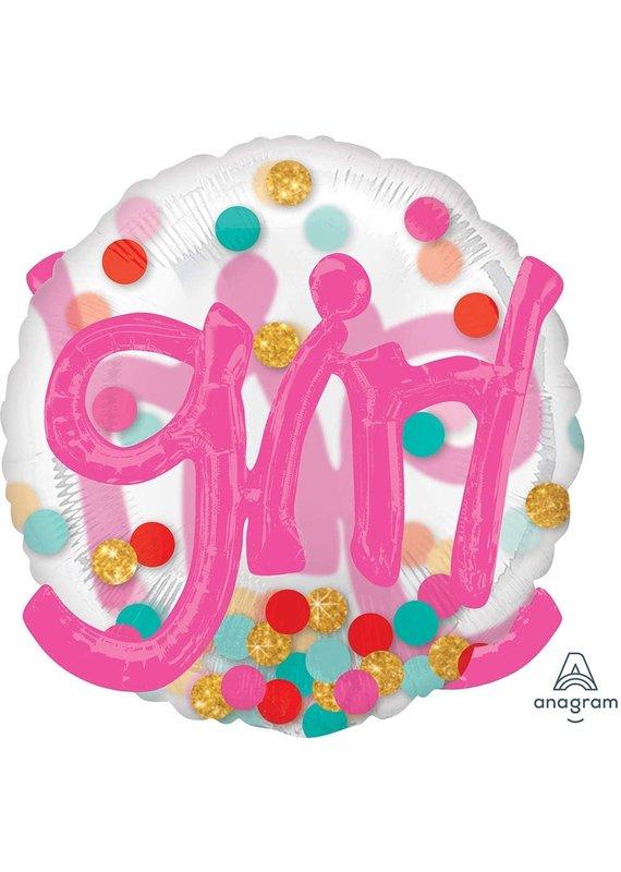 "*****Girl Dot 36"" Balloon with 3D Effect"