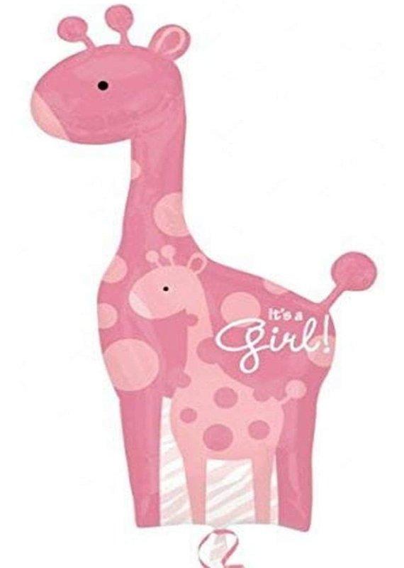 """*****It's a Girl Pink Giraffe 42"""" Mylar Balloon"""