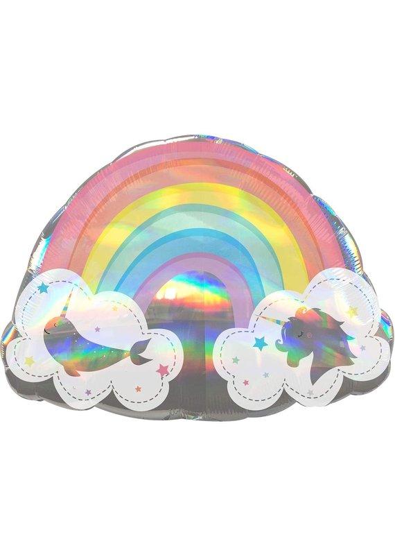 "*****Magical Rainbow & Clouds 28"" Mylar Balloon"