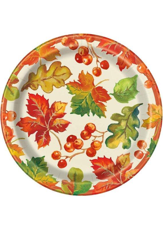 "*****Berries & Leaves Fall 7"" Dessert Plates 8ct"