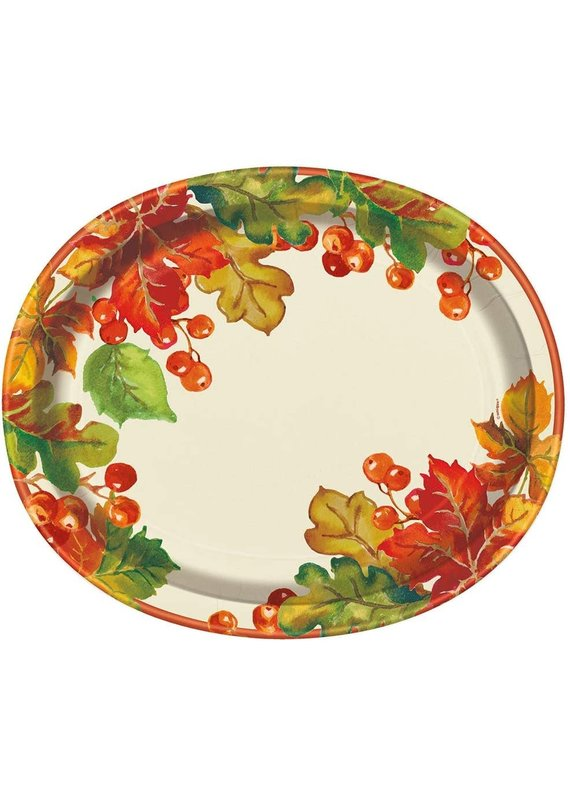 *****Berries & Leaves Fall Oval Plates 8ct