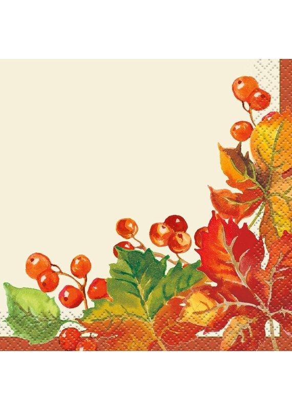 *****Berries & Leaves Beverage Napkins 16ct